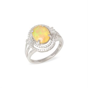 David Jerome 18k White Gold Opal and Diamond Ring