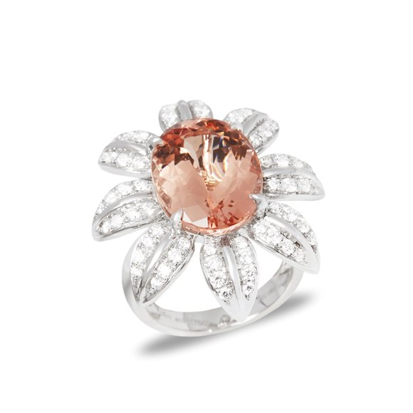 David Jerome 18k White Gold Morganite and Diamond Ring