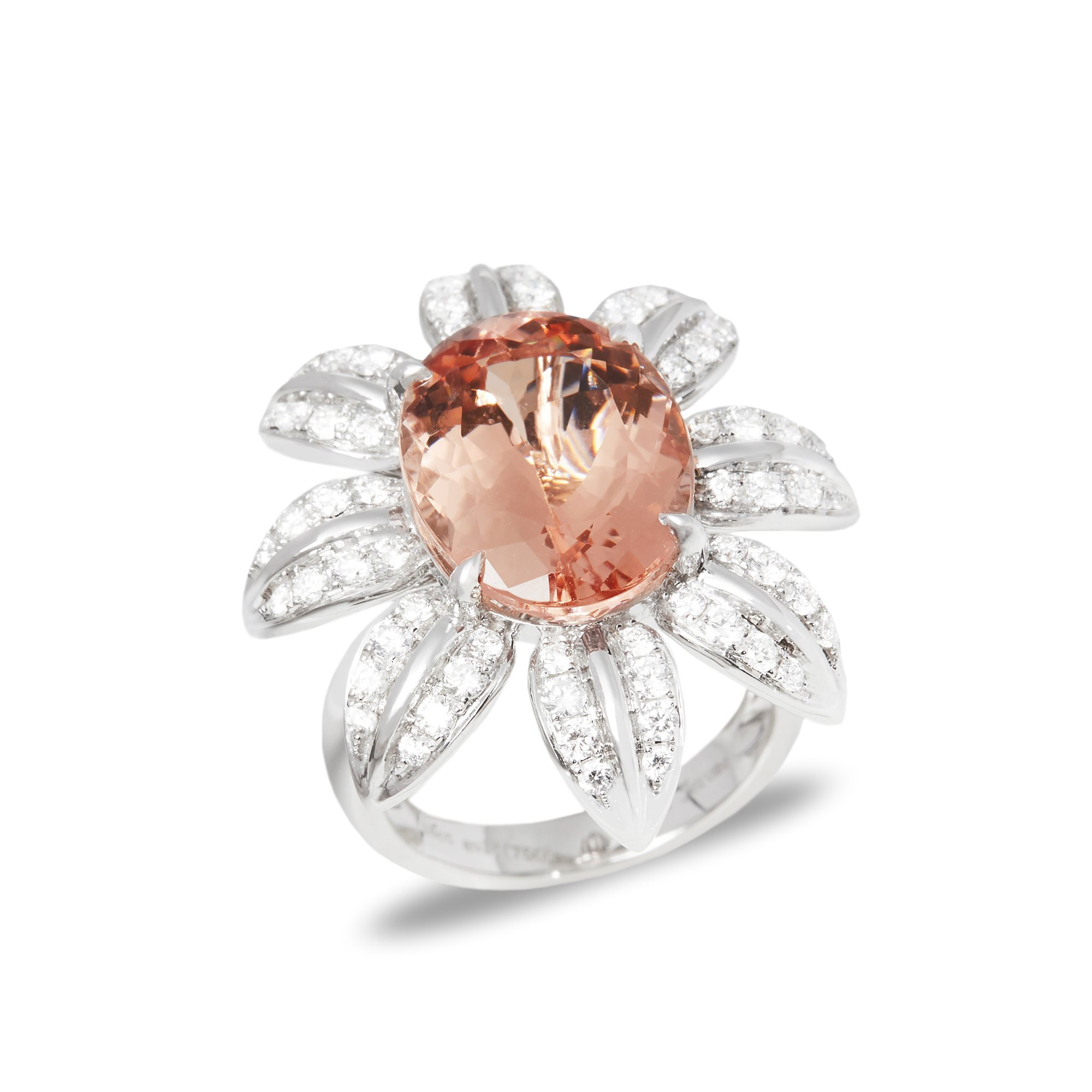 David Jerome Certified 8.86ct Oval Cut Morganite and Diamond 18ct Gold Ring