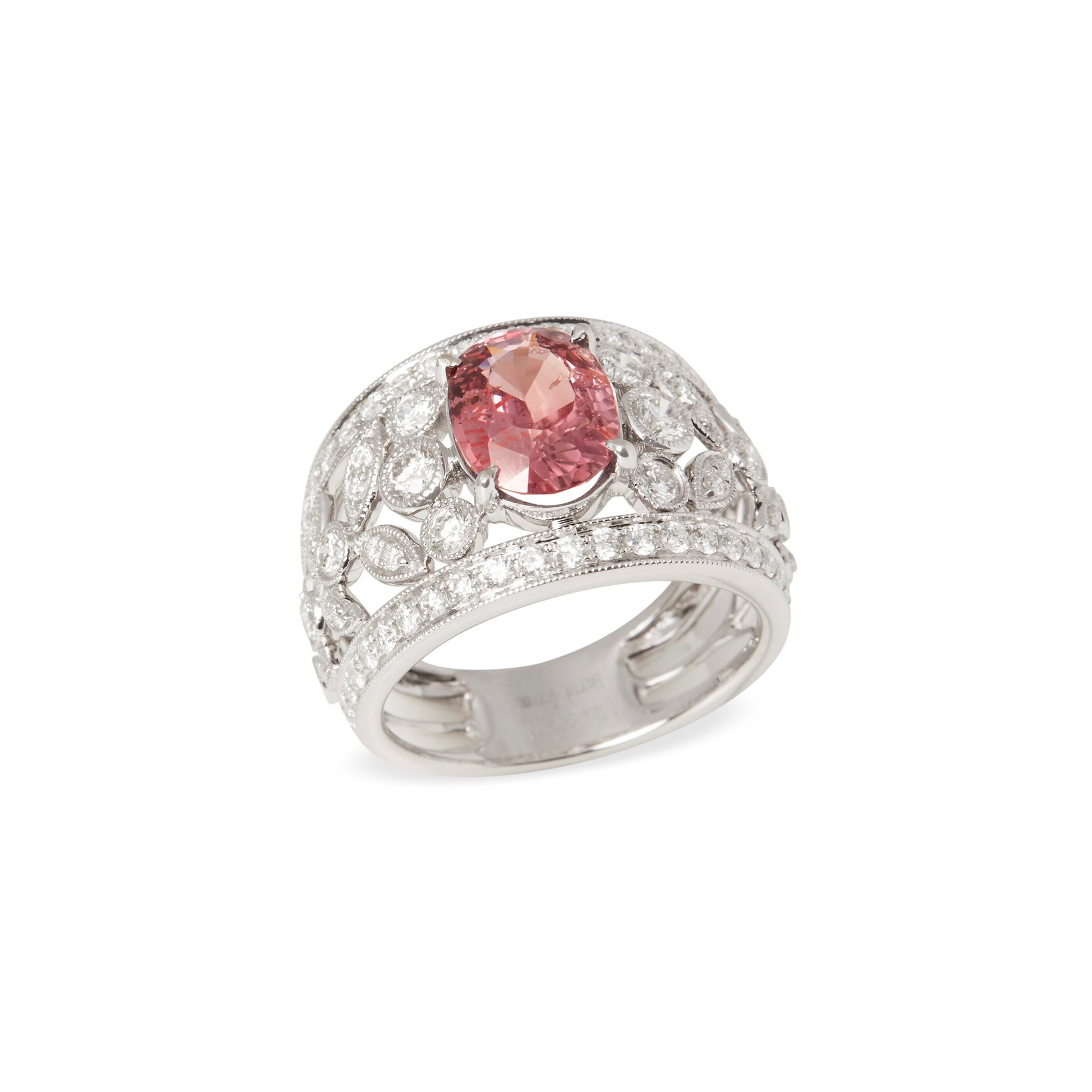 David Jerome 18k White Gold Padparadscha Sapphire and Diamond Ring