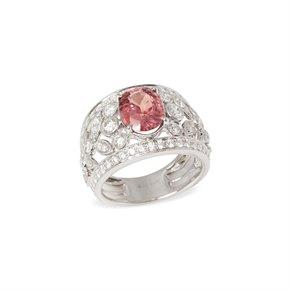 David Jerome 18k White Gold Padparadscha Sapphire and Diamond Ring