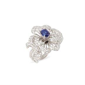 David Jerome 18k White Gold Sapphire and Diamond Ring