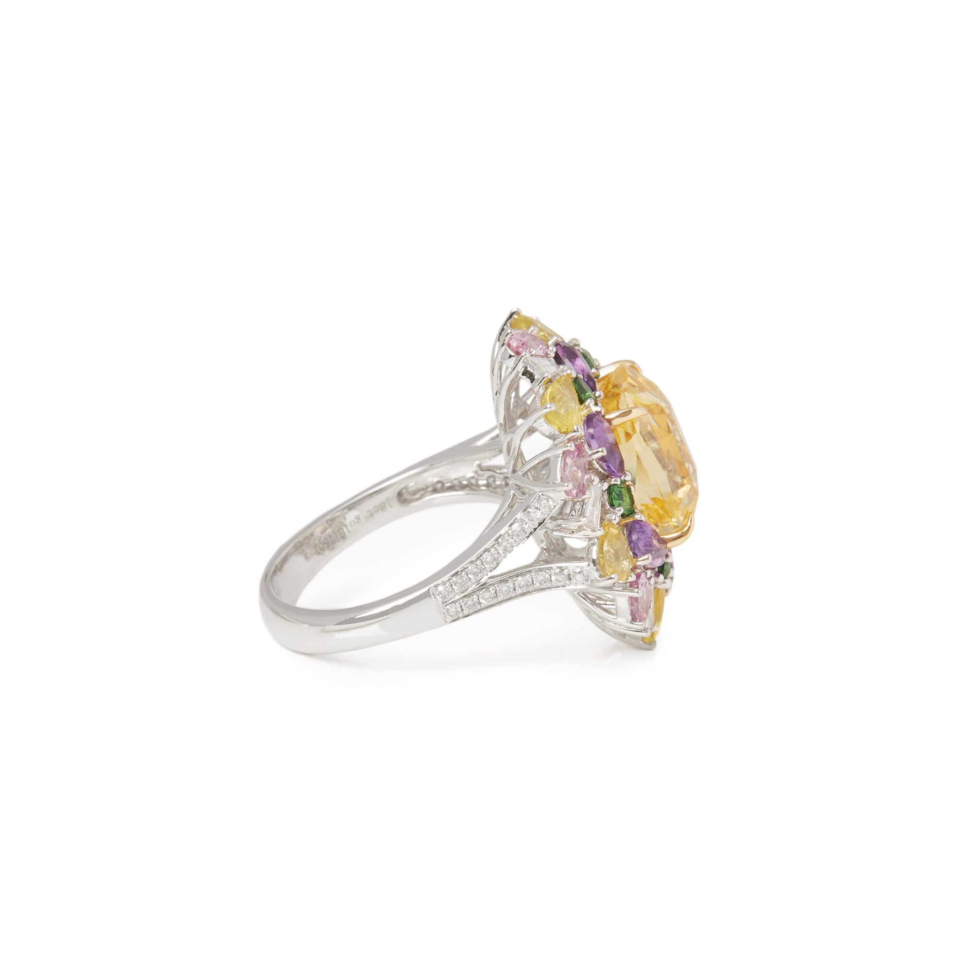 David Jerome 18k White Gold Yellow Sapphire and Diamond Ring