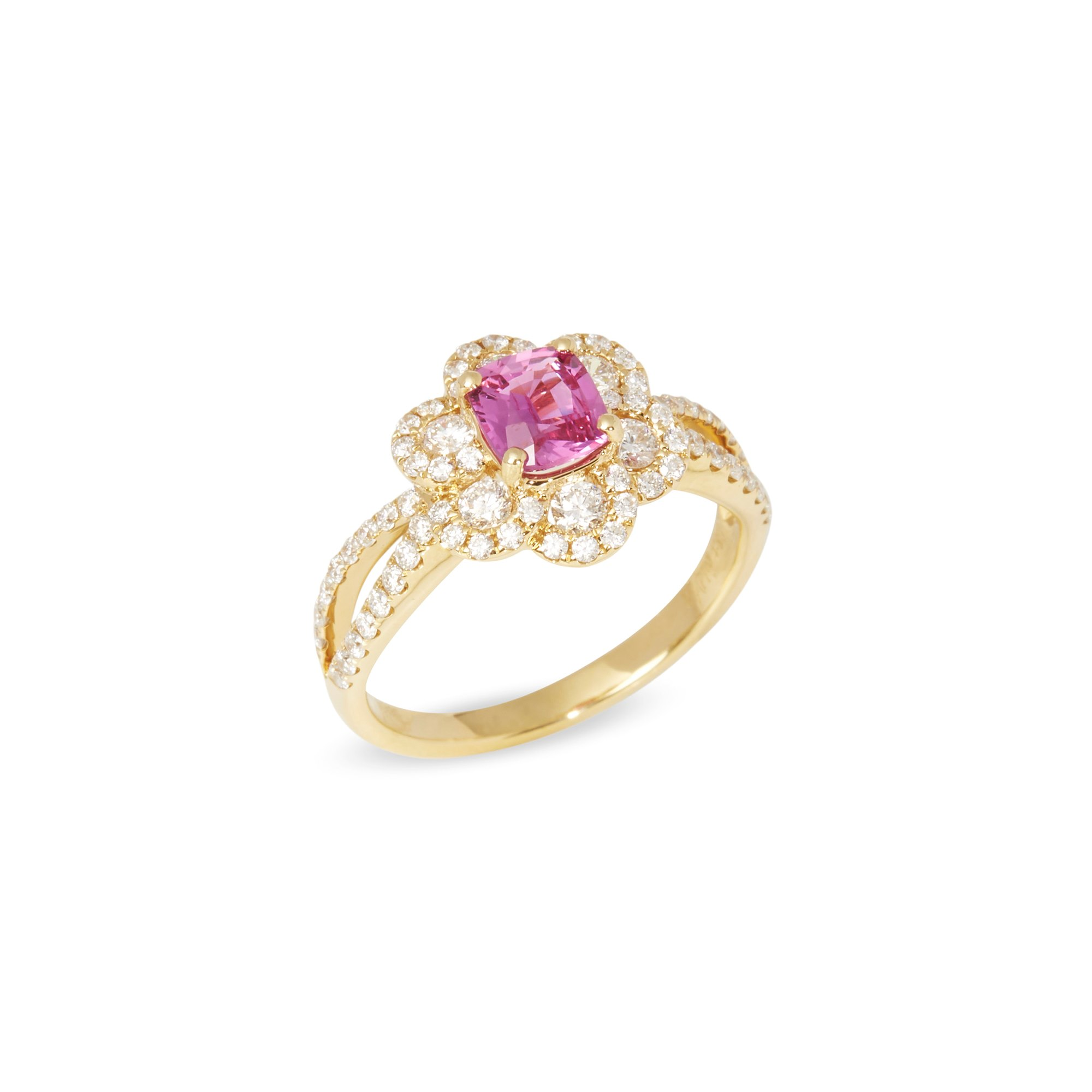 David Jerome 18k Yellow Gold Pink Sapphire and Diamond Ring