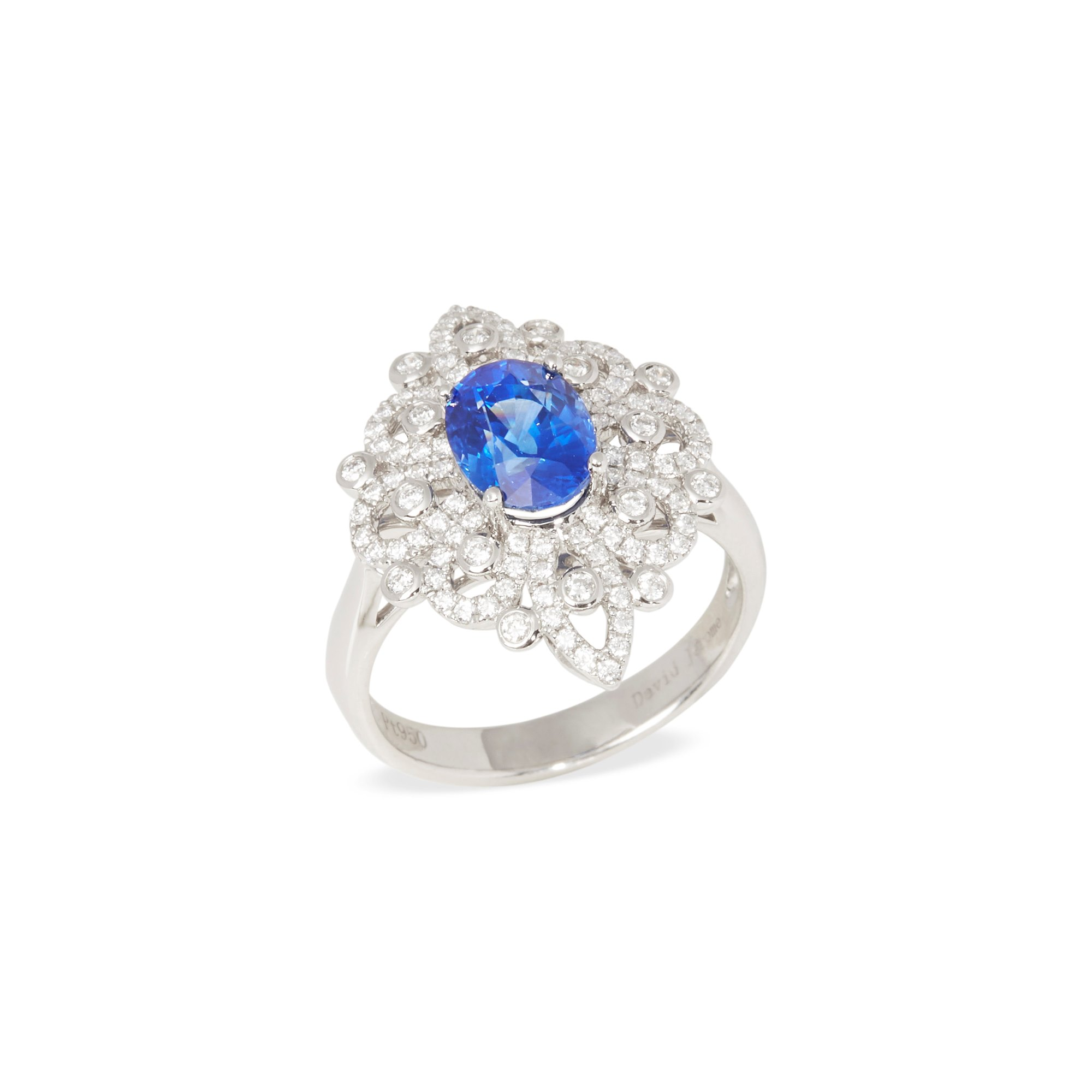 David Jerome Platinum Sapphire and Diamond Ring