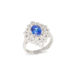 David Jerome Certified 2.2ct Sapphire and Diamond Platinum Ring