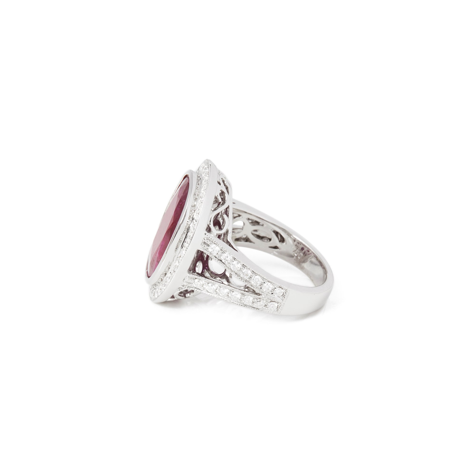 David Jerome Certified 7.1ct Oval Cut Ruby and Diamond 18ct Gold Ring
