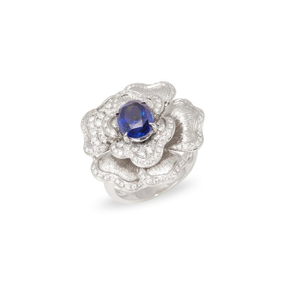 David Jerome 18k White Gold Sapphire and Diamond Ring