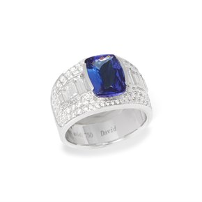 David Jerome Certified 3.1ct Cushion Cut Tanzanite and Diamond 18ct Gold Ring