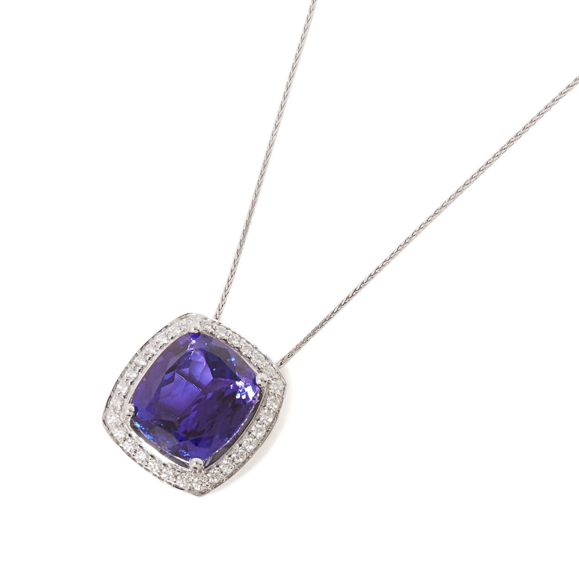 David Jerome 18k White Gold Tanzanite and Diamond Pendant