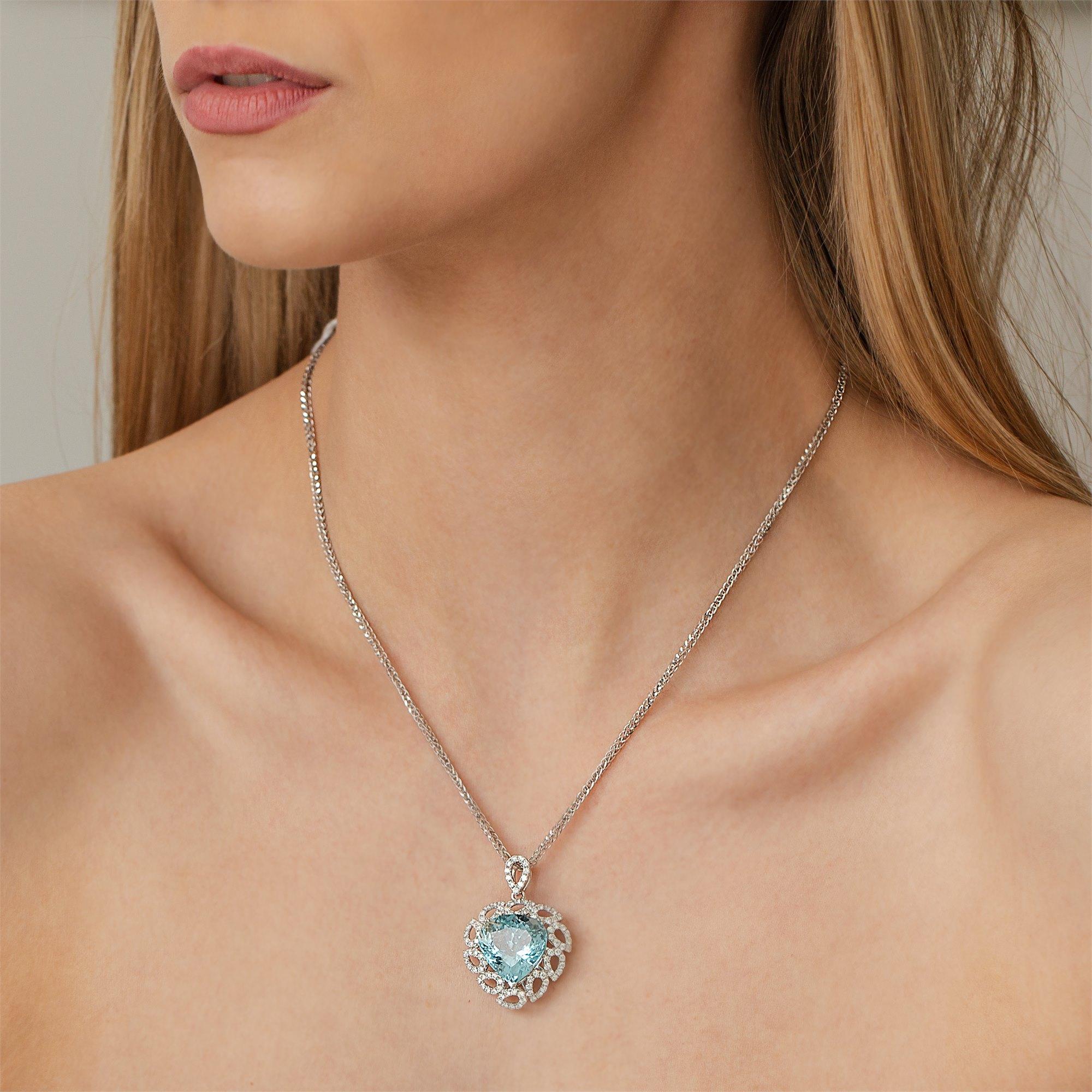 David Jerome 18k White Gold Aquamarine and Diamond Pendant