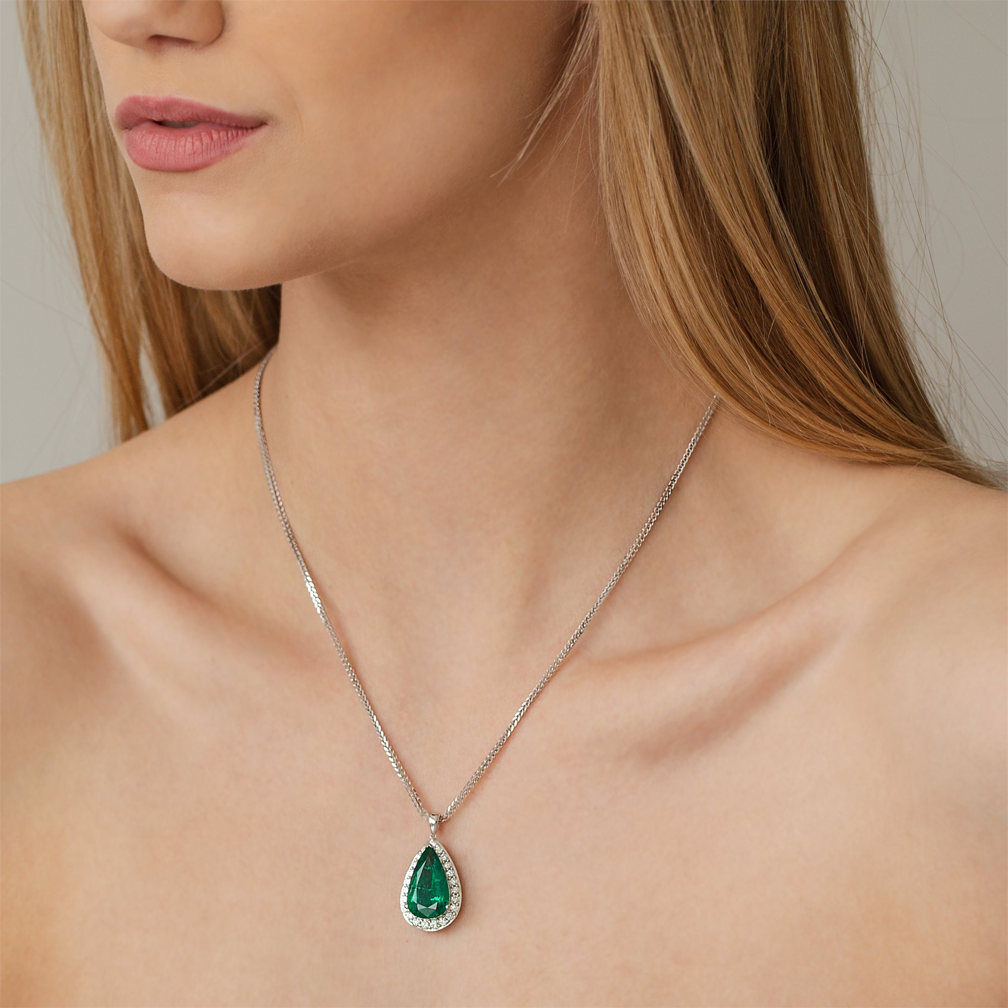 David Jerome 18k White Gold Emerald and Diamond Pendant