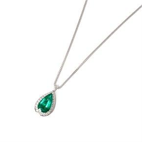 David Jerome 18k White Gold Emerald and Diamond Pendant