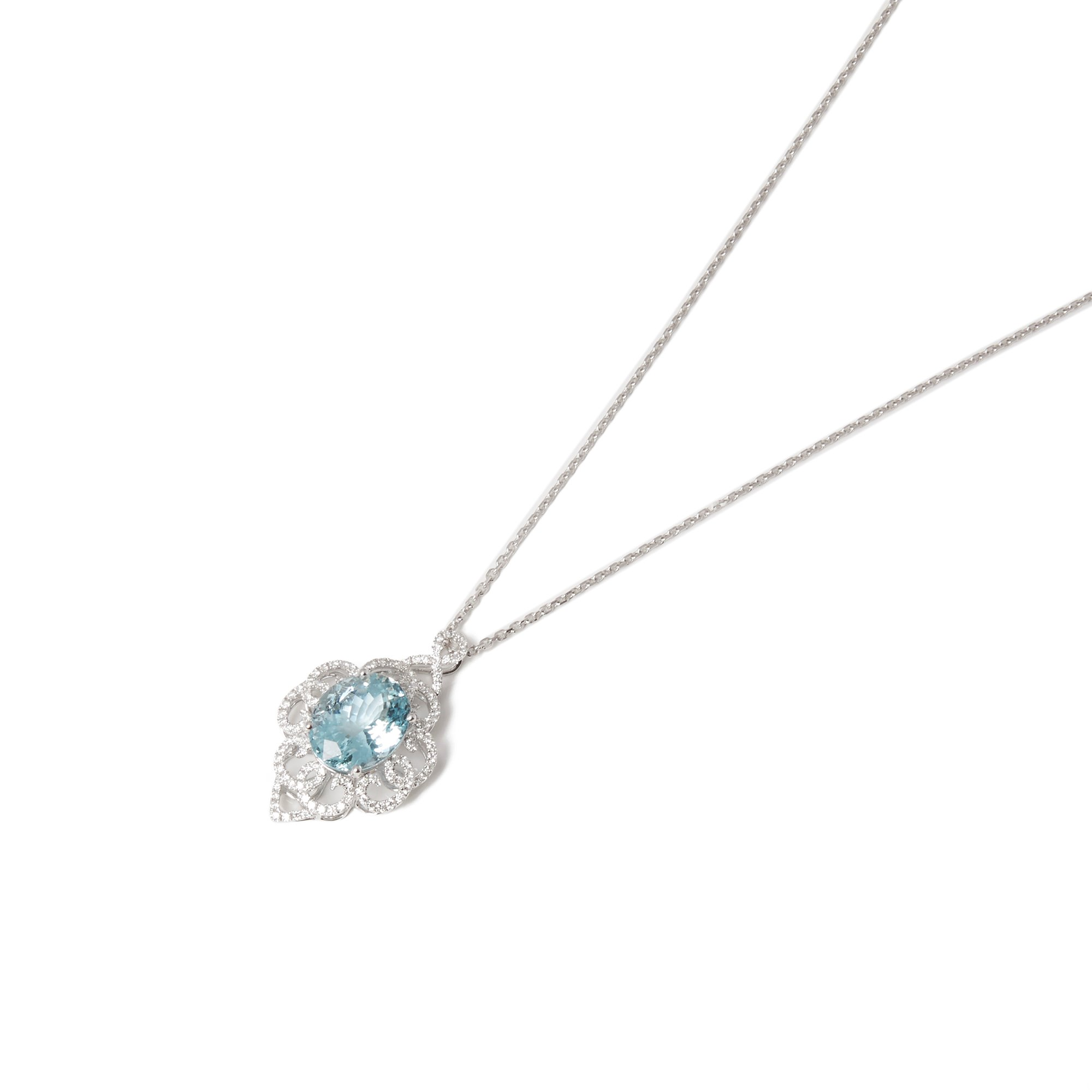 David Jerome 18k White Gold Aquamarine and Diamond Pendant