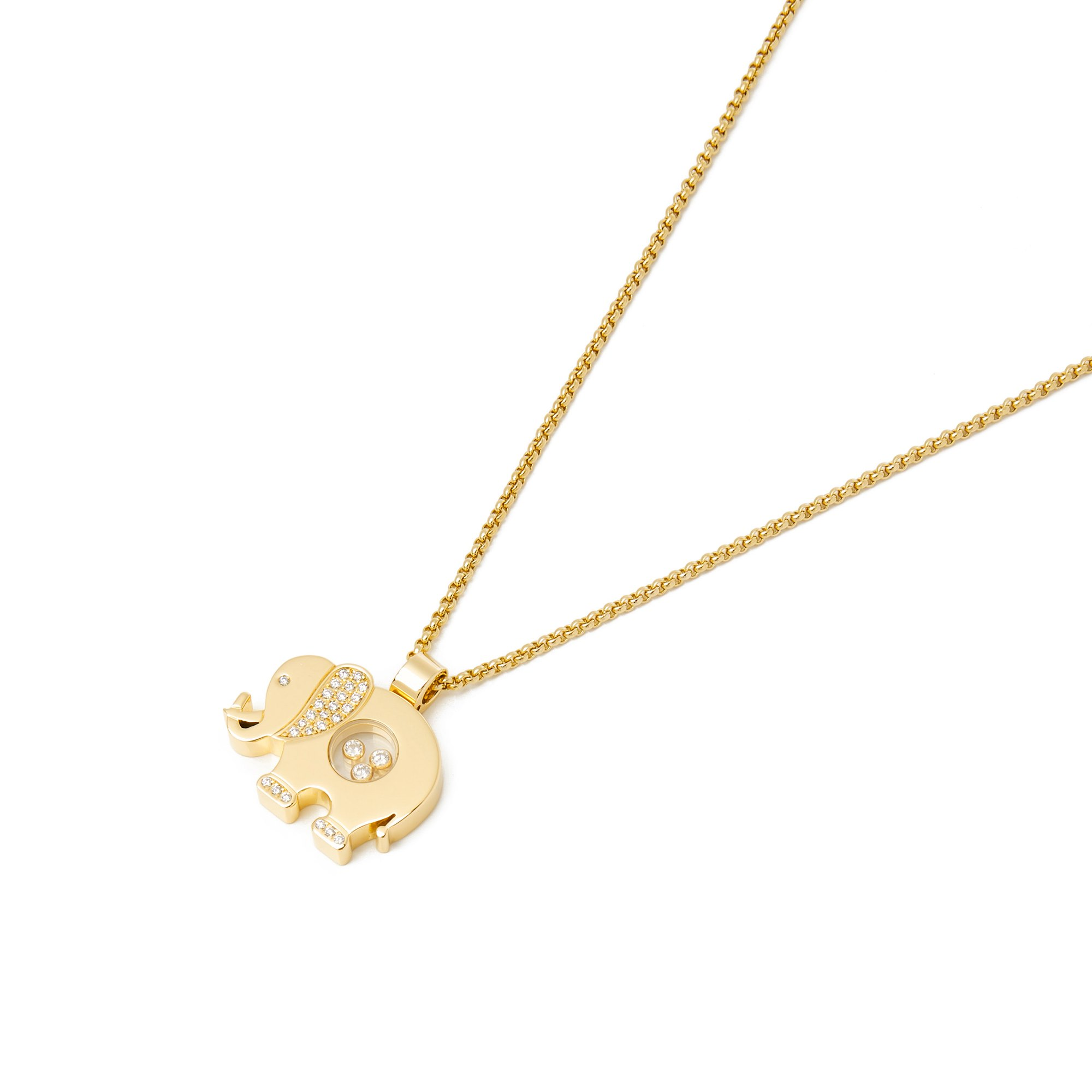Chopard 18k Yellow Gold Elephant Diamond Set Pendant