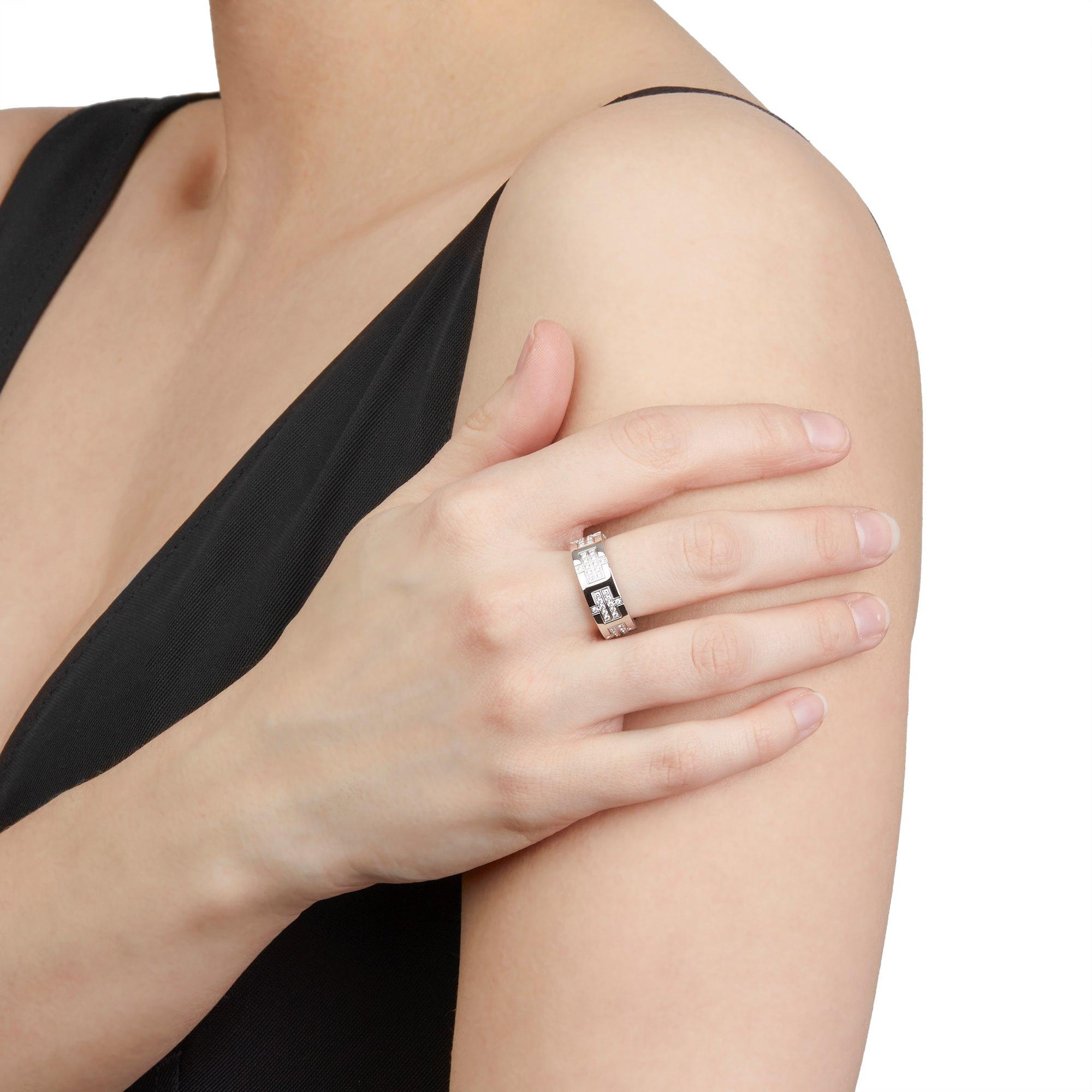 Hermès 18k White Gold Kilim Diamond Ring