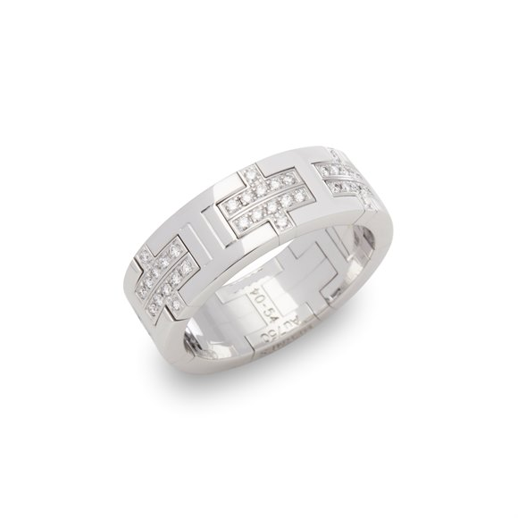 Hermès 18k White Gold Kilim Diamond Ring