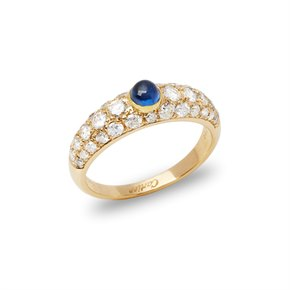 Cartier 18k Yellow Gold Cabochon Sapphire and Diamond Ring
