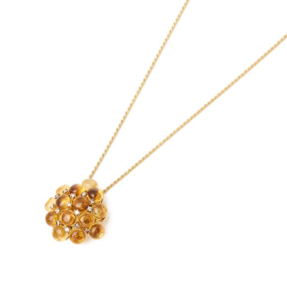 18k Yellow Gold Citrine and Diamond Pendant