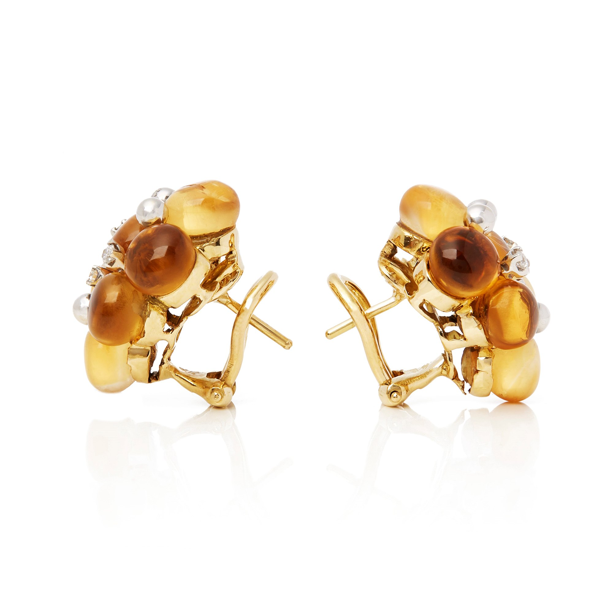 Citroengeel 18k Yellow Gold Citrine and Diamond Earrings