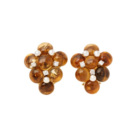18k Yellow Gold Citrine and Diamond Earrings