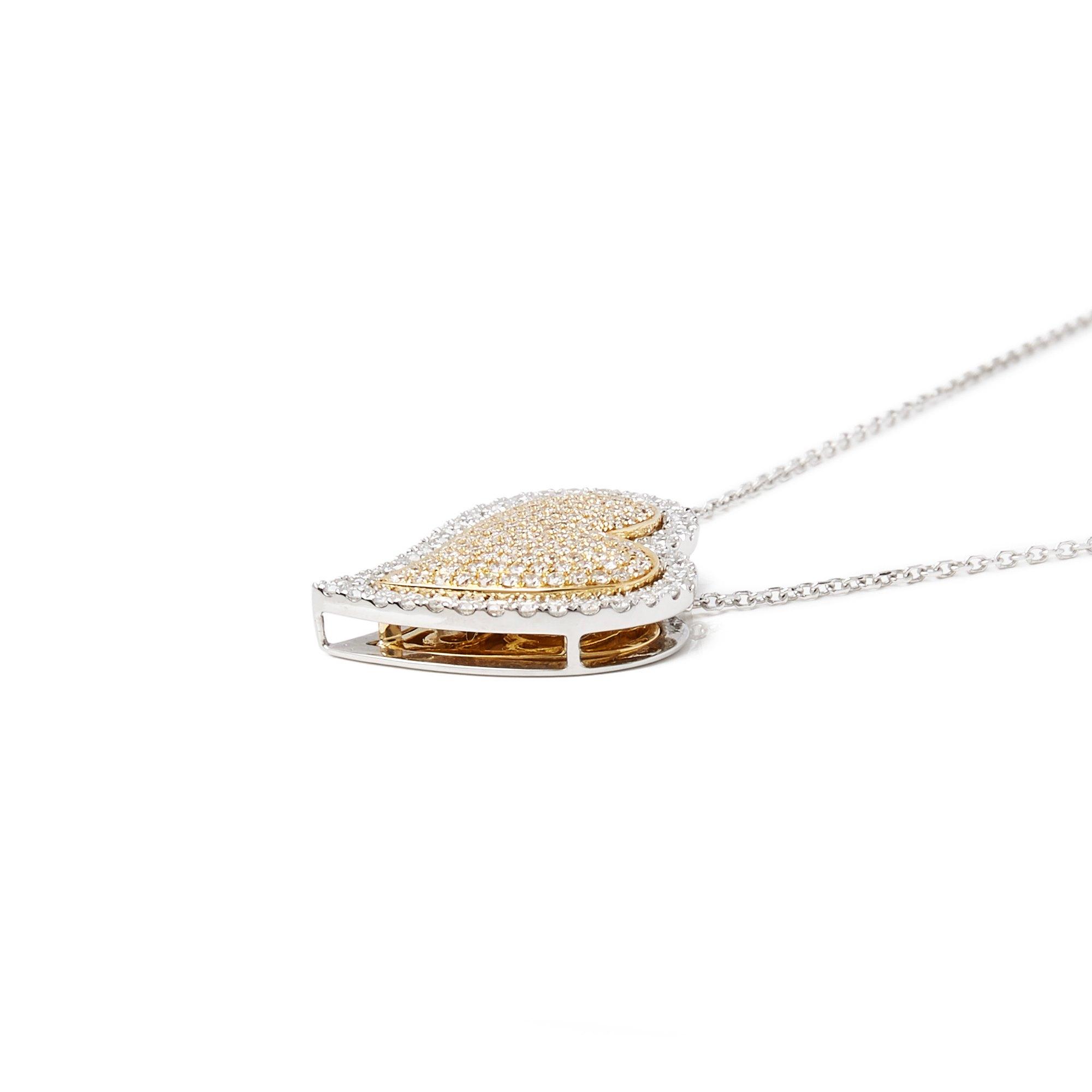 Diamanten 18k White Gold Double Heart Diamond Necklet