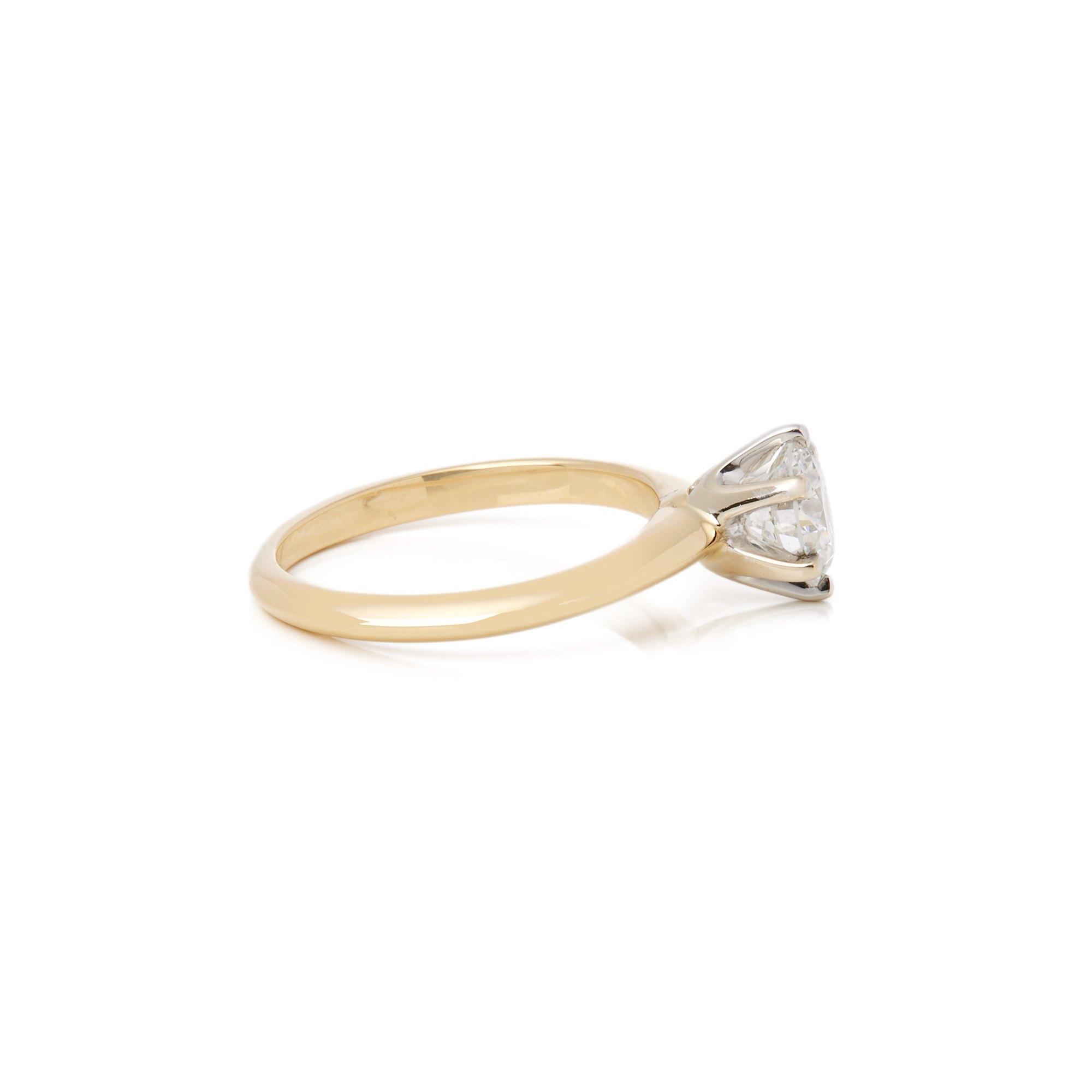 Diamond 18k Yellow Gold Round Brilliant Cut Diamond Ring