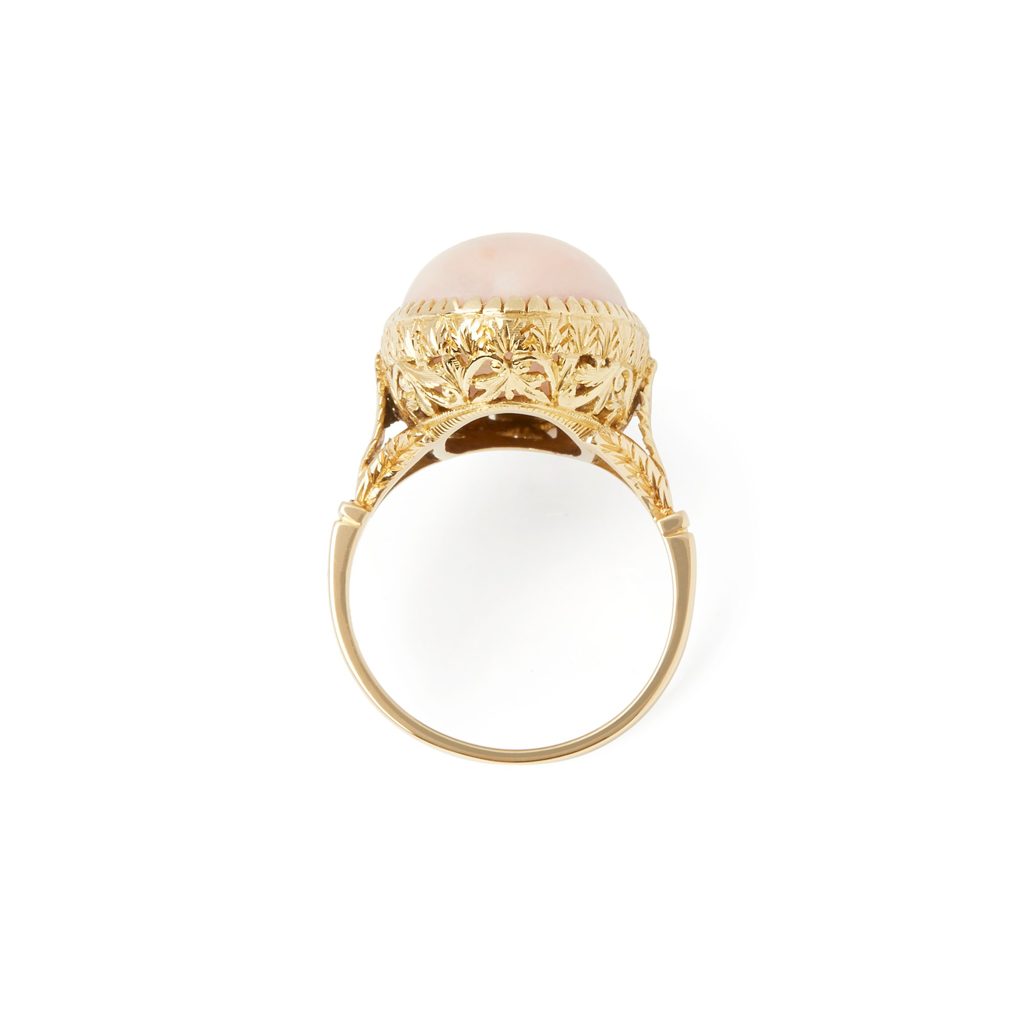 Coral 18k Yellow Gold Pink Coral Ring