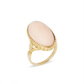 18k Yellow Gold Pink Coral Ring