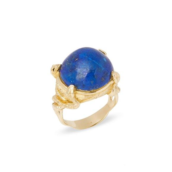 18k Yellow Gold Lapis Lazuli Ring