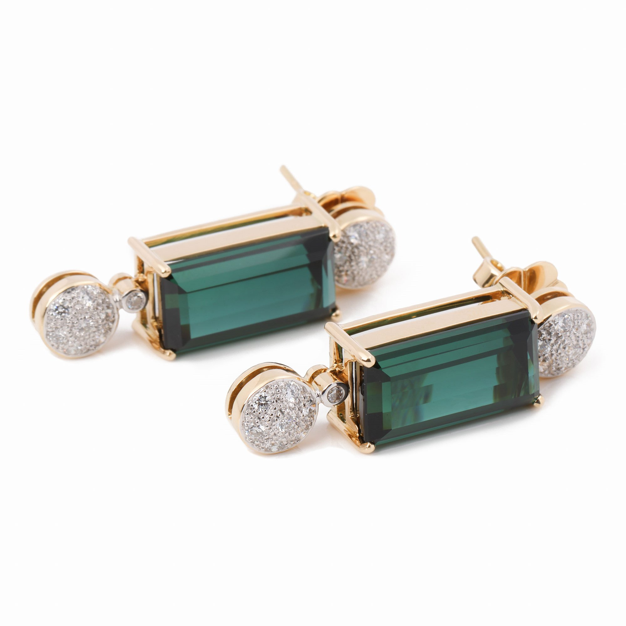 Toermalijn 18k Yellow Gold Tourmaline and Diamond Earrings