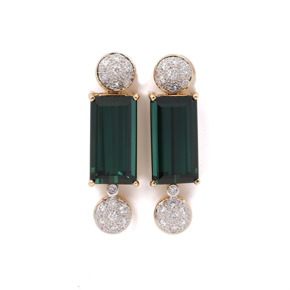 18k Yellow Gold Tourmaline and Diamond Earrings