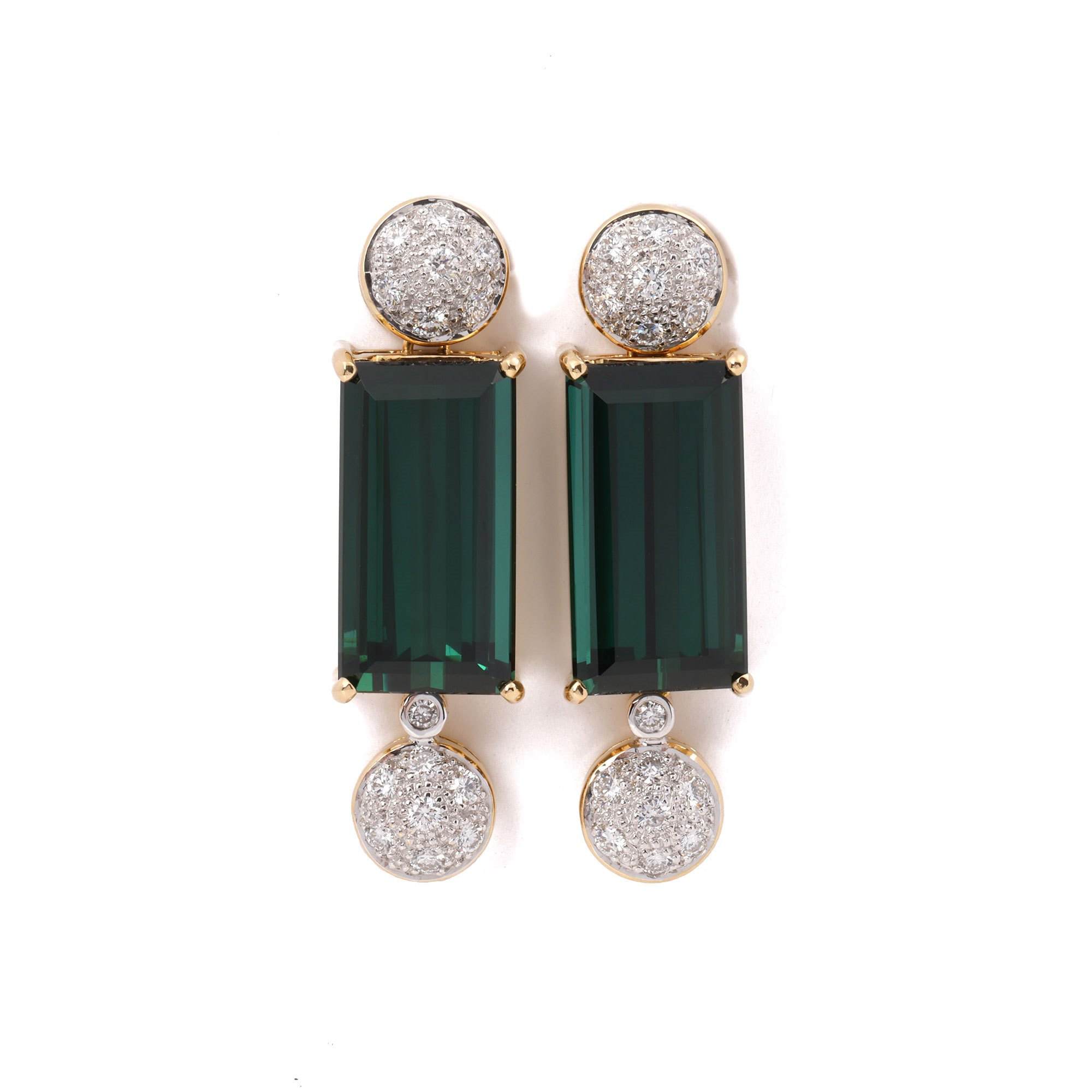 Tourmaline 18k Yellow Gold Tourmaline and Diamond Earrings