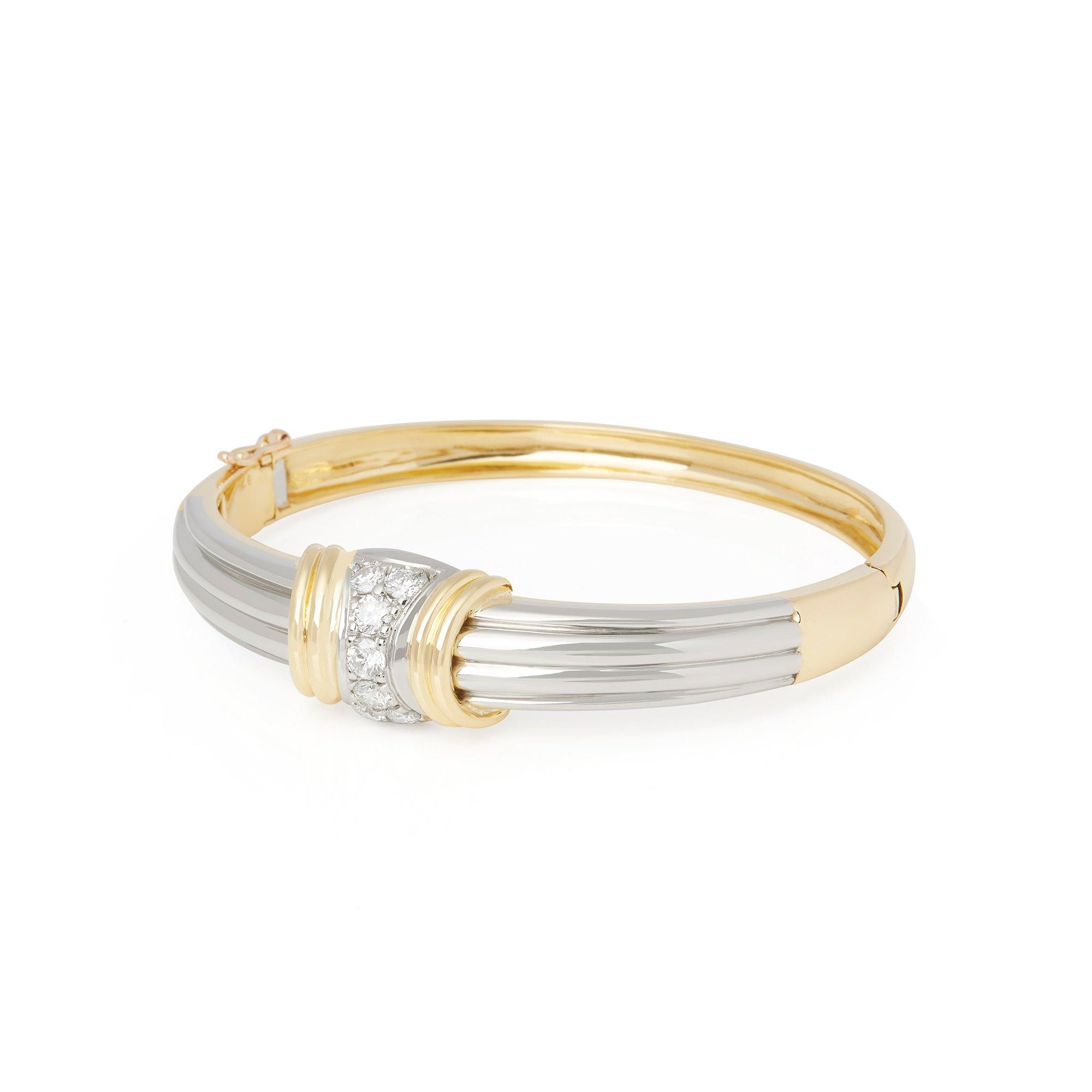 Diamond 18k Bi Colour Round Brilliant Cut Diamond Hinged Bangle