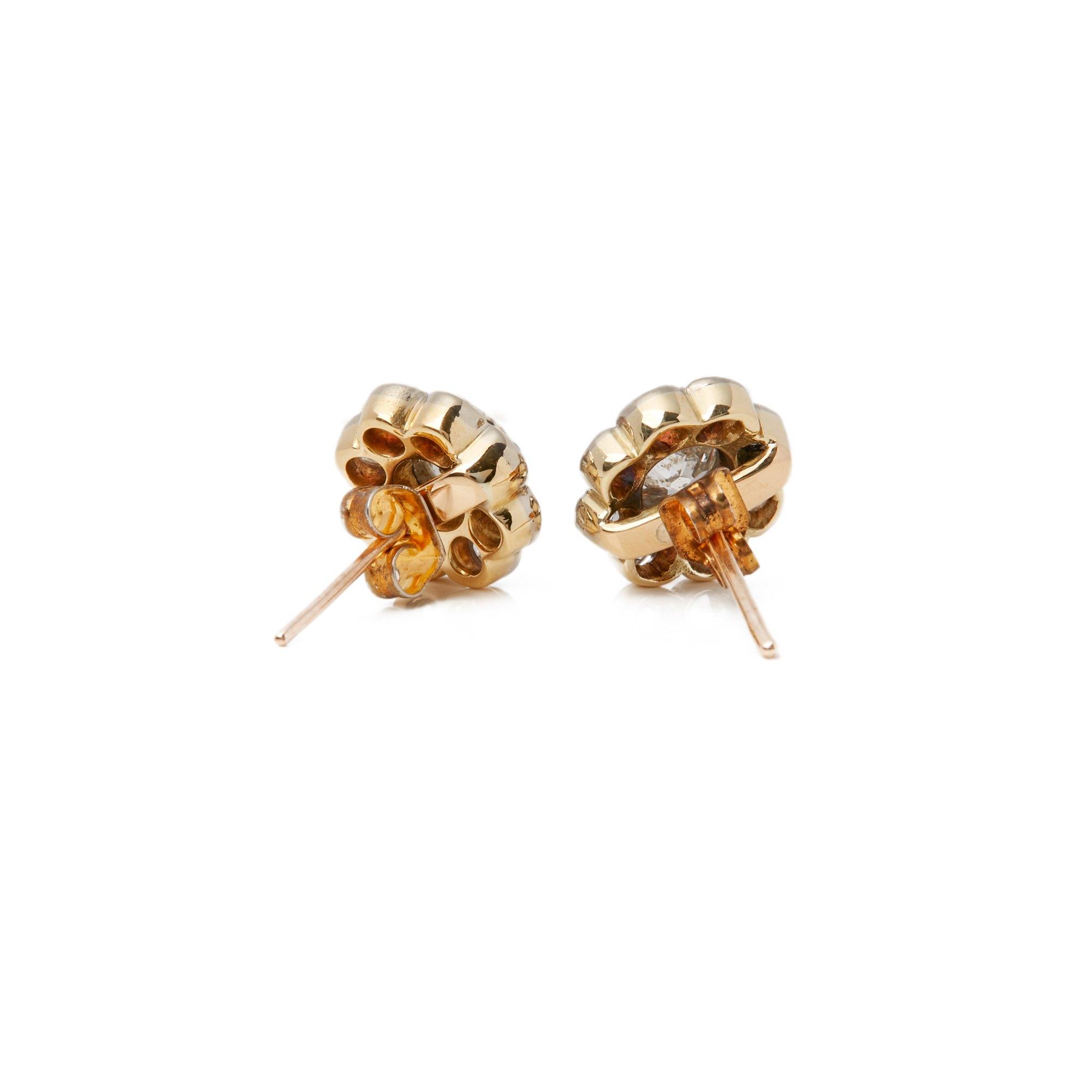 Diamond 18k Yellow Gold Old Cut Diamond Cluster Earrings