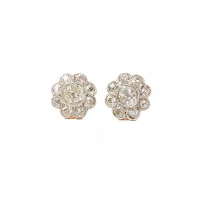18k Yellow Gold Old Cut Diamond Cluster Earrings