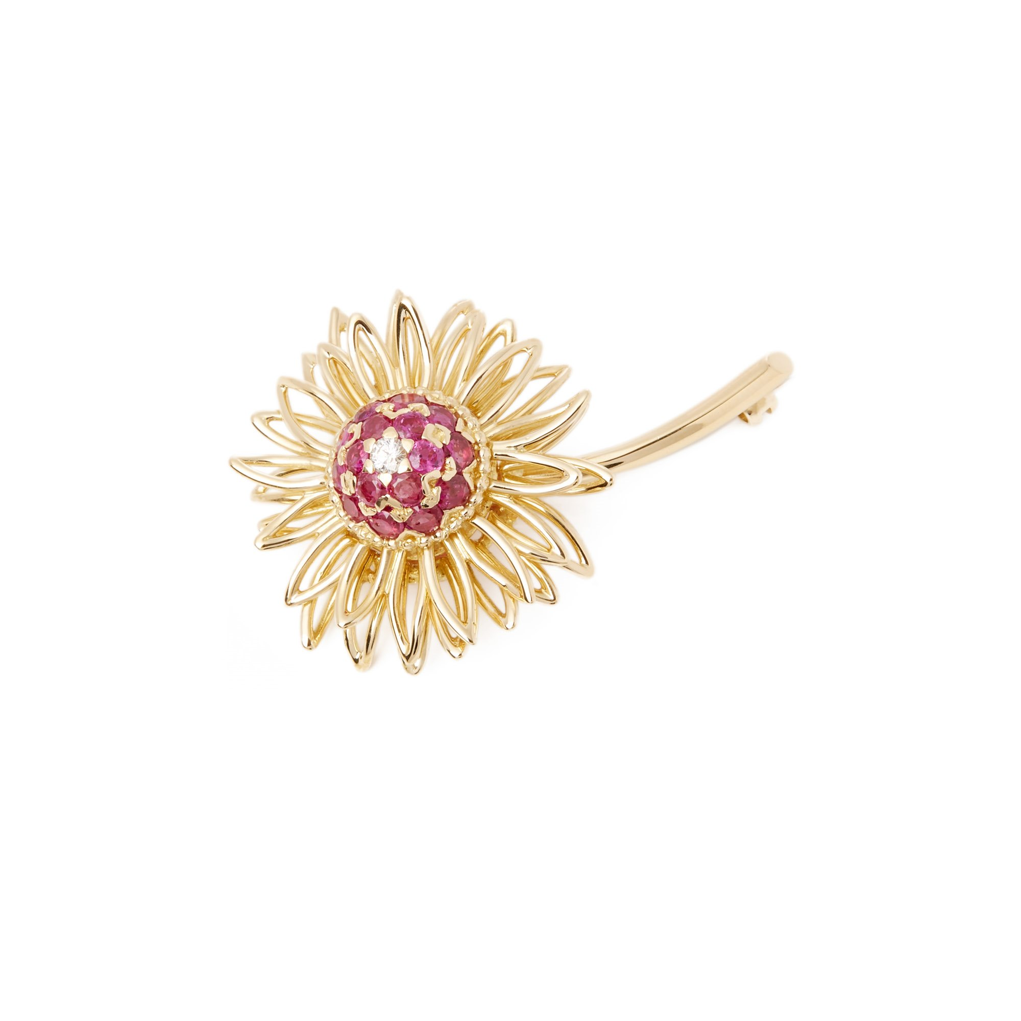Kutchinsky 18k Yellow Gold Ruby and Diamond Vintage Brooch