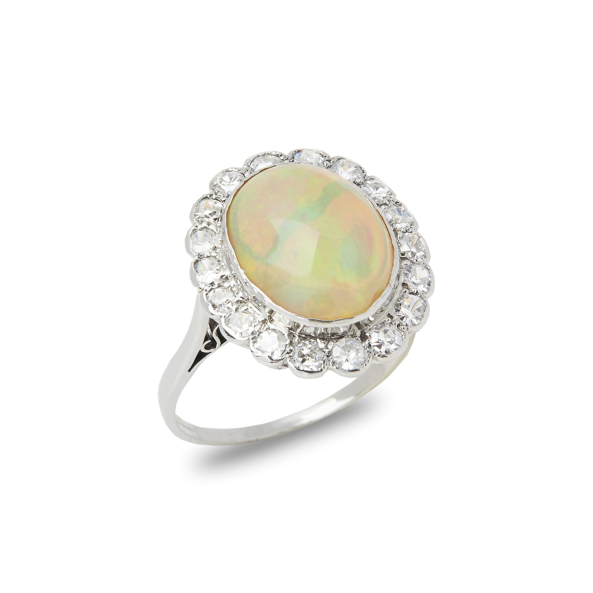 Opal 18k White Gold Opal and Diamond Vintage Cluster Ring