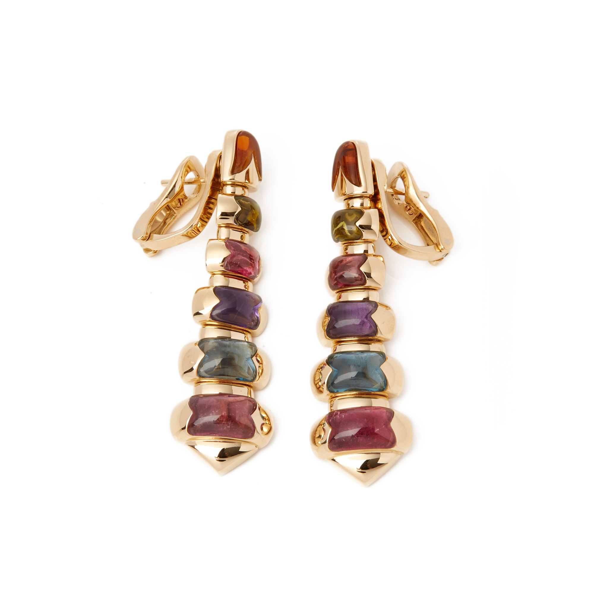 Bulgari 18k Yellow Gold Graduated Mixed Stone Drop Earrings