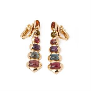 Bulgari 18k Yellow Gold Graduated Mixed Stone Drop Earrings