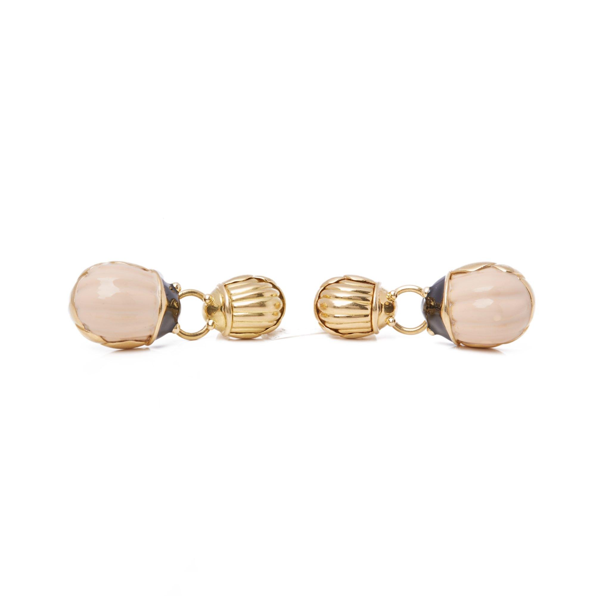 Tiffany & Co. 18k Yellow Gold Enamel Beetle Drop Earrings