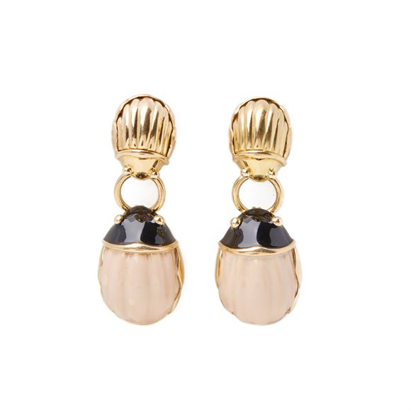 Tiffany & Co. 18k Yellow Gold Enamel Beetle Drop Earrings