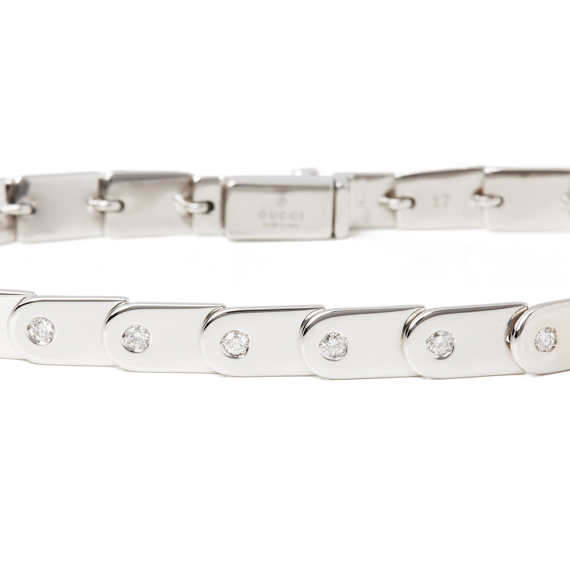 Gucci 18k White Gold Diamond Set Link Bracelet