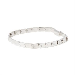 Gucci 18k White Gold Diamond Set Link Bracelet