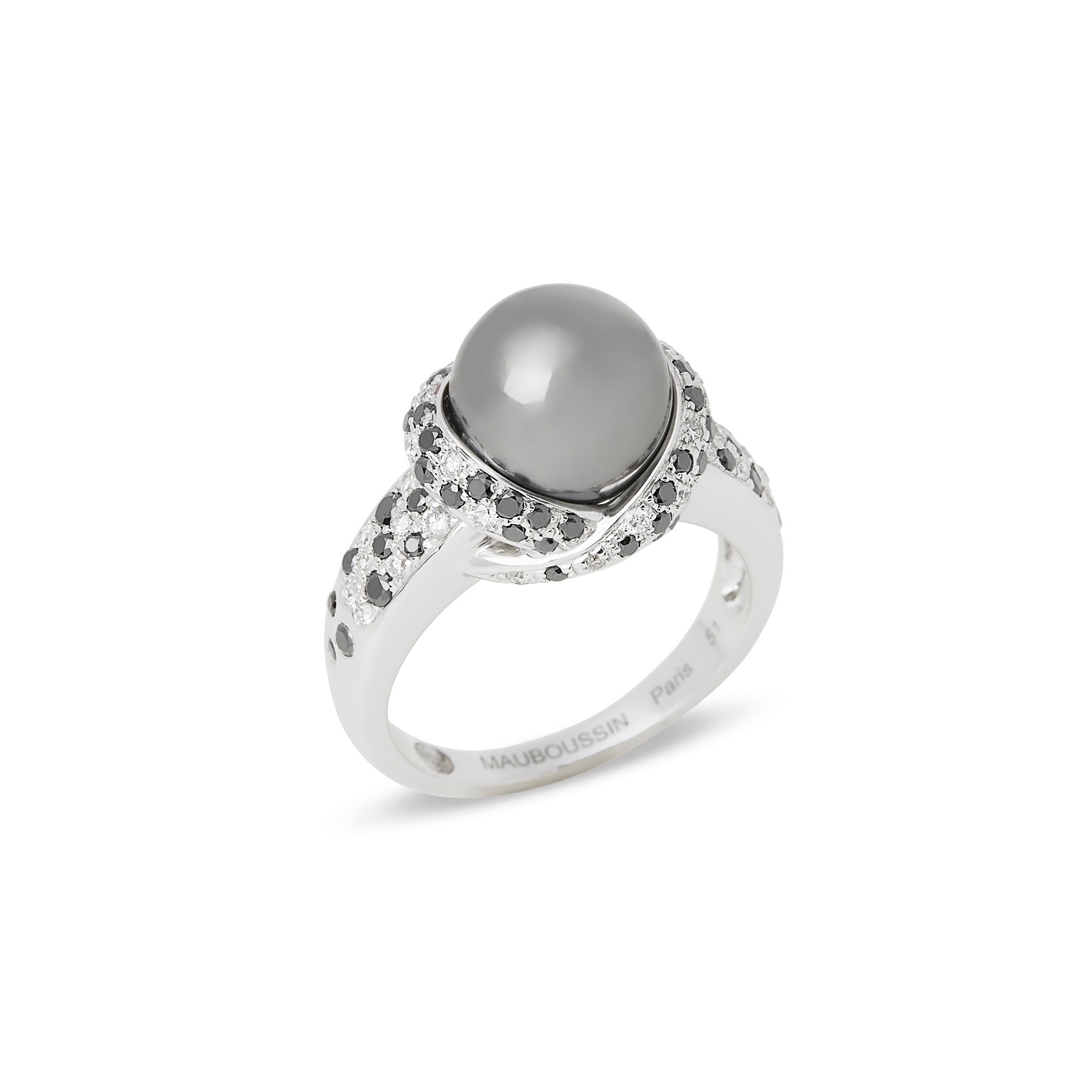 Mauboussin 18k White Gold Pearl and Diamond Caviar Mon Amour Ring