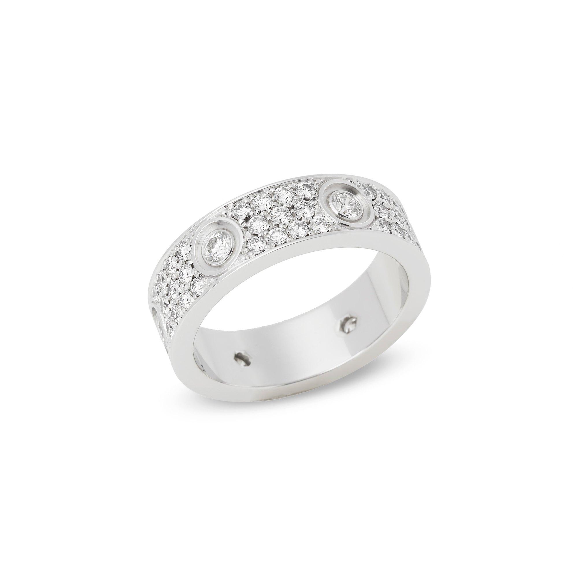 Cartier 18k White Gold Full Diamond Love Ring