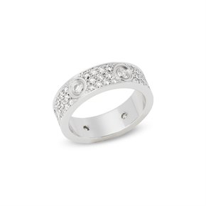 Cartier 18k White Gold Full Diamond Love Ring