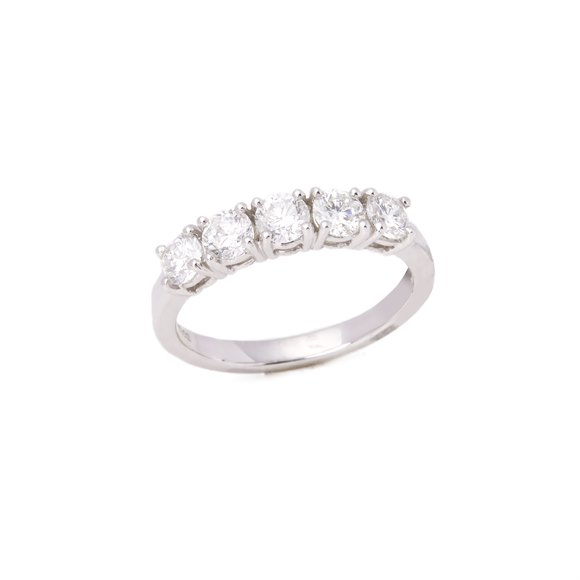 Platinum Round Brilliant Cut Five Stone Band Ring 1.01cts