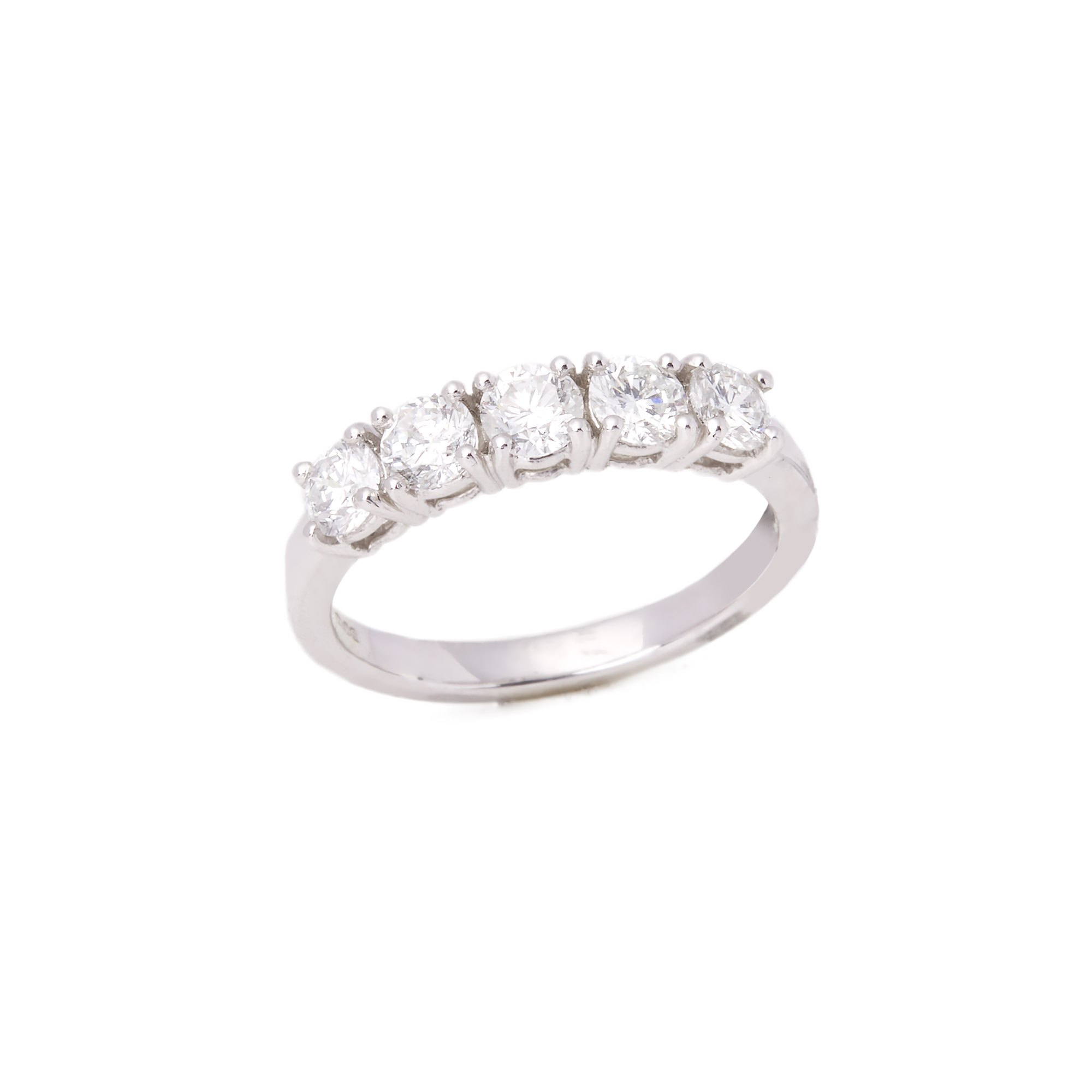 Diamond Platinum Round Brilliant Cut Five Stone Band Ring 1.01cts
