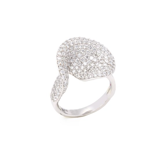 Platinum Round Brilliant Cut Diamond Petal Style Cocktail Ring 1.76cts